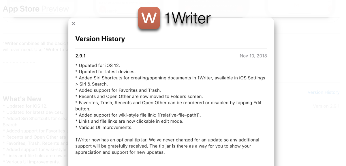 1Writer version update notice