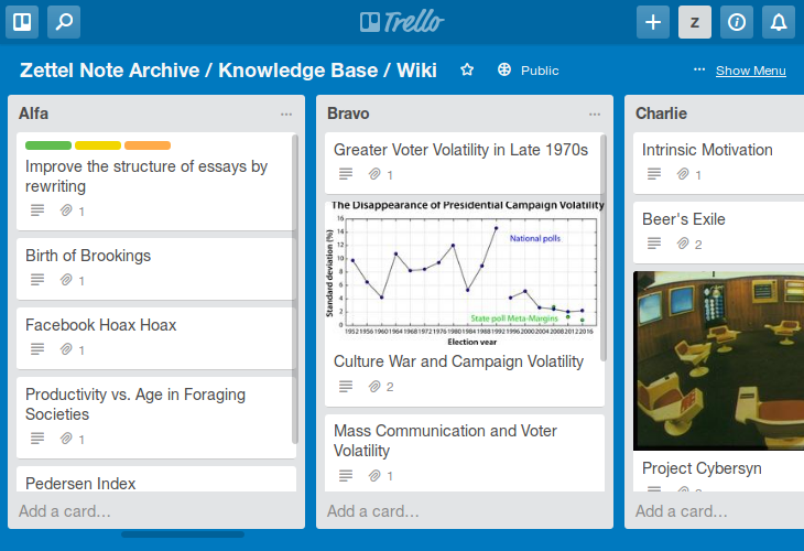 Zettel note archive in Trello